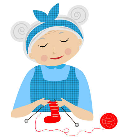 a merry grandmother binds socks,vector illustration Illustration