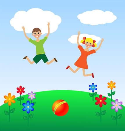 merry child jump on lawn, vector illustration