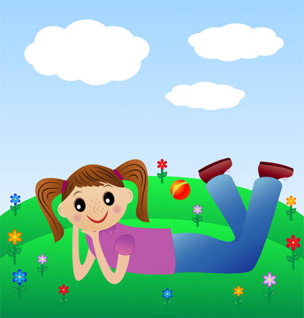 excitation: merry girl lie on green lawn, vector illustration