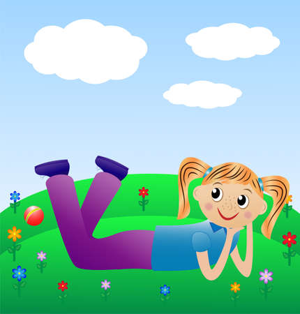 merry girl lie on green lawn, vector illustration Vector