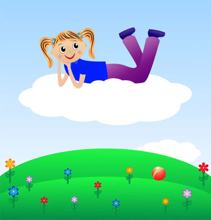 merry girl lie on cloud, vector illustration Vector