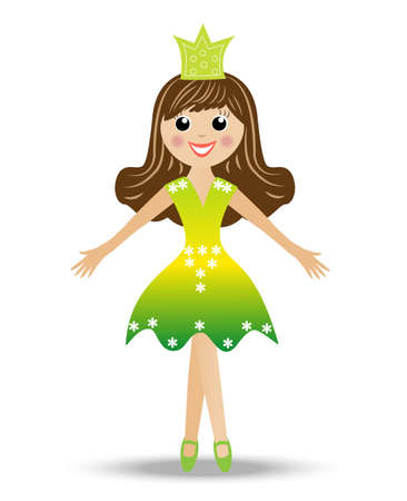 merry girl in suit princess, vector illustration Vector