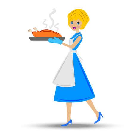 hotter: woman prepare  fried chicken, vector illustration