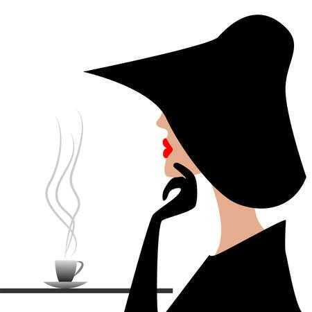 caf�: misterioso straniero in un cappello nero, illustrazione vettoriale