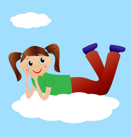 excitation: merry girl lie on cloud, vector illustration