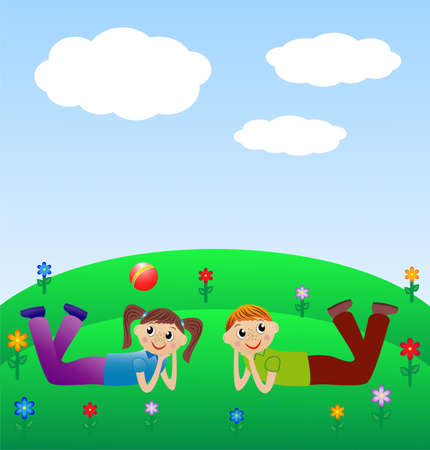 excitation: merry child lie on lawn, vector illustration
