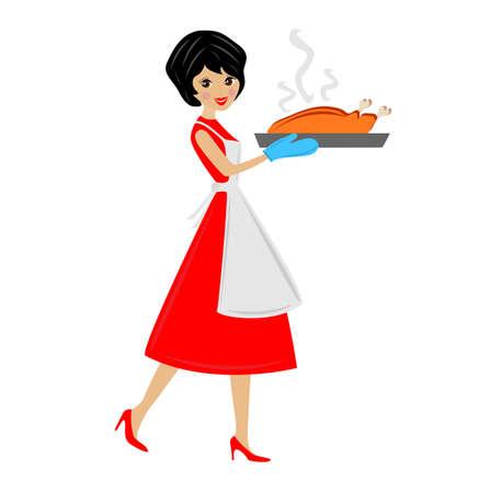 zapatos caricatura: mujer preparar pollo frito, ilustraci�n vectorial