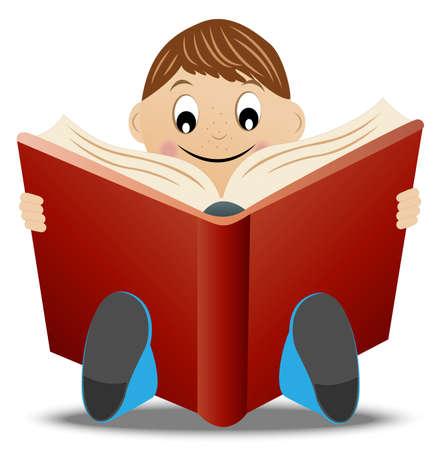 mixed race children: little boy read book, vector illustration