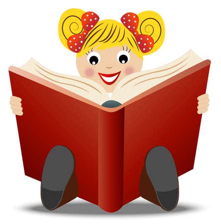 mixed race children: little girl read book, vector illustration