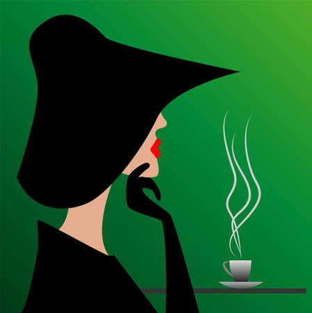mysterious stranger in a black hat,  vector  illustration Vector