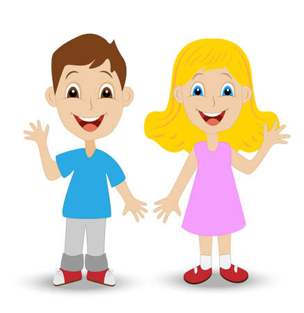 merry little girl and boy on white background, vector illustration Vector