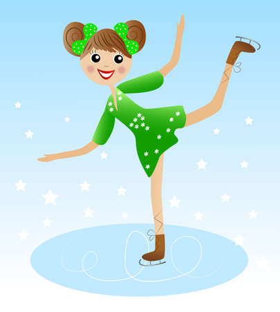 coldly: merry girl  goes for a drive in beautiful dress on skate, vector illustration Illustration