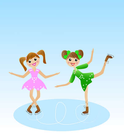 coldly: two merry girl  goes for a drive in beautiful dress on skate, vector illustration Illustration
