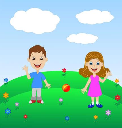 kind spielen: Merry Kind spielen die gr�ne Wiese, Vektor-Illustration