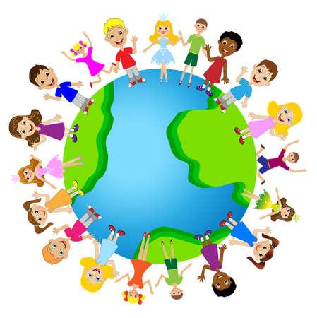 小さな子供の惑星地球上ベクトル イラスト