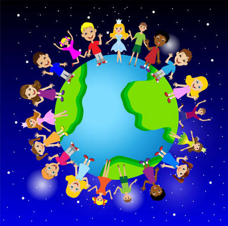 little child on planet earth, vector illustration Vector