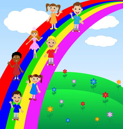 fraternity: little child go for a drive on rainbow, vector illustration