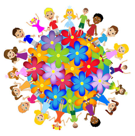 race for time: little child stand round floral planet, vector illustration