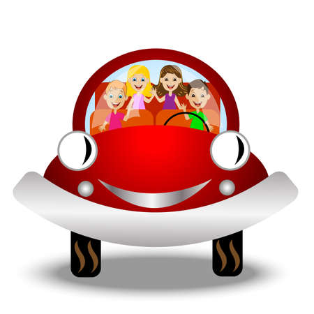 little child in red car,vector illustration