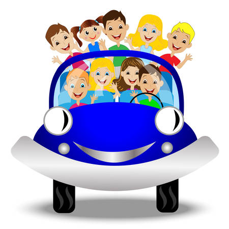 caricature woman: little child in blue car,vector illustration Illustration
