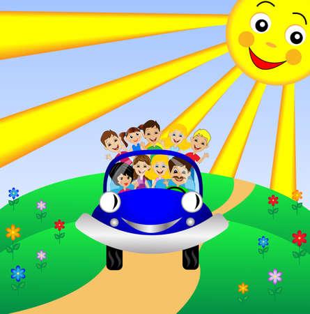 family go by rest in blue car,vector illustration Illustration