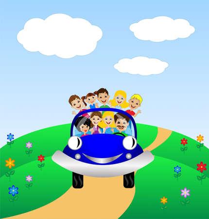 家族は青い車、ベクター グラフィックの残りの部分で行く