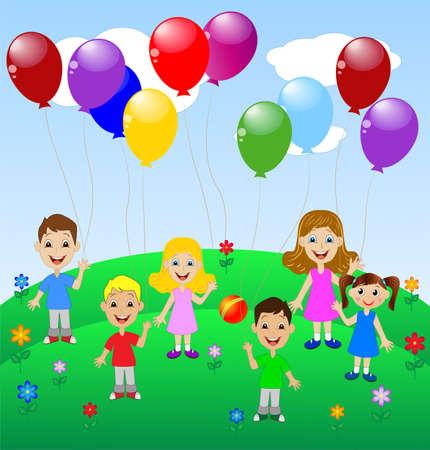 pequeño niño con el globo, ilustración vectorial