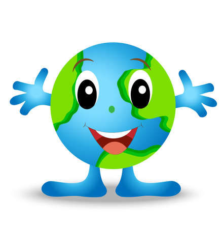 a round planet is earth, merry personage, vectorial illustration Vector