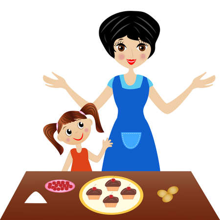 to prepare: mother with little daughter prepare delicious cake, vector illustration