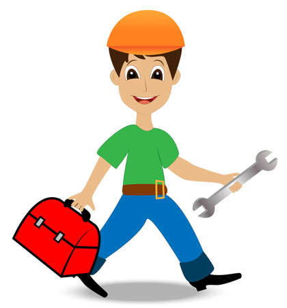 master page: merry man builder with a gripsack and wrench in hands,vector illustration