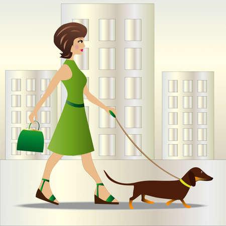 犬と一緒に歩く若い女性ベクトル イラスト  イラスト・ベクター素材