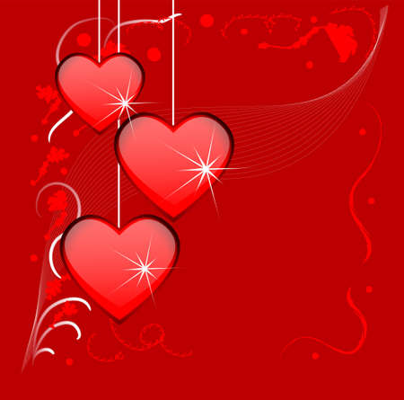 amorousness: Bright red background with hearts to the day of saint Valentin