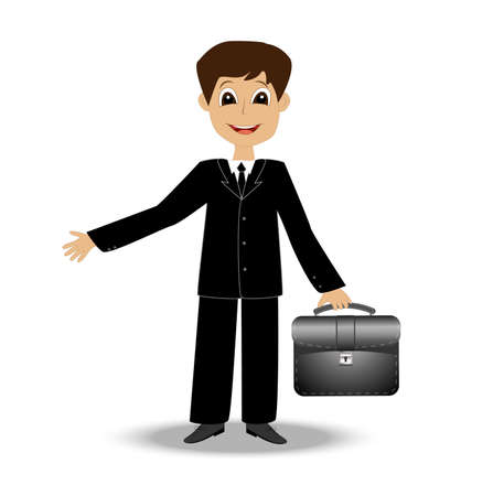 merry business man on a white background,  vector  illustration Illustration