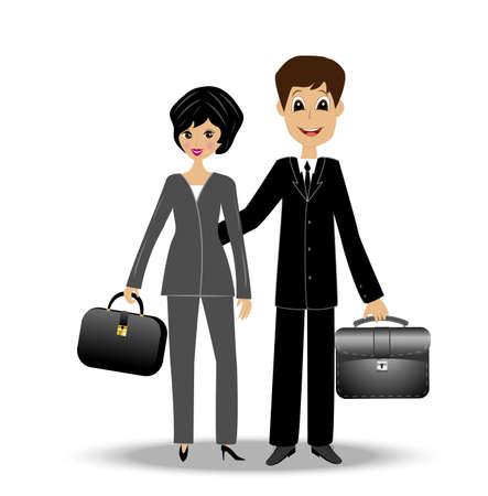 2 つのビジネスの男性と女性、ベクトル イラスト