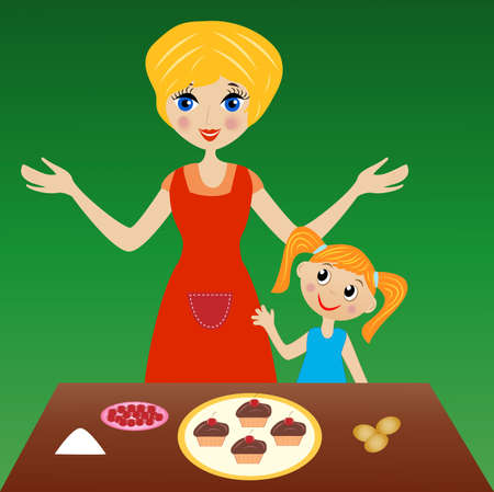 sweetness: mother with little daughter prepare delicious cake, vector illustration