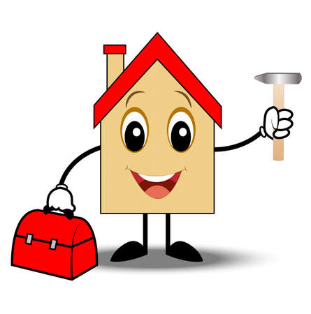 cartoon house: merry house with a gripsack and hammer in hands,vector illustration Illustration