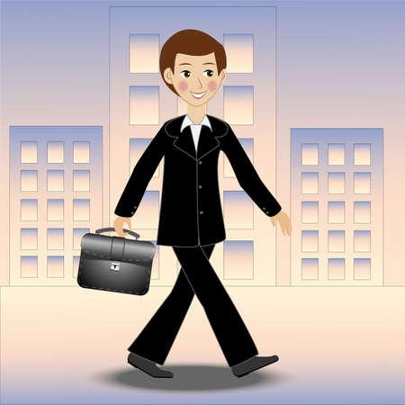 陽気なビジネスの男性は仕事、ベクトル図を通りに沿って歩く