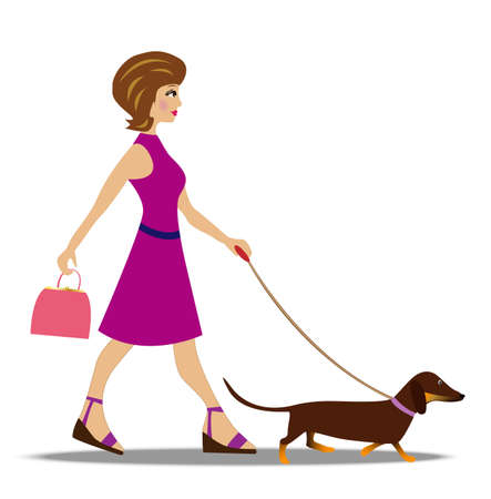 young woman on walk with dog, vector illustration