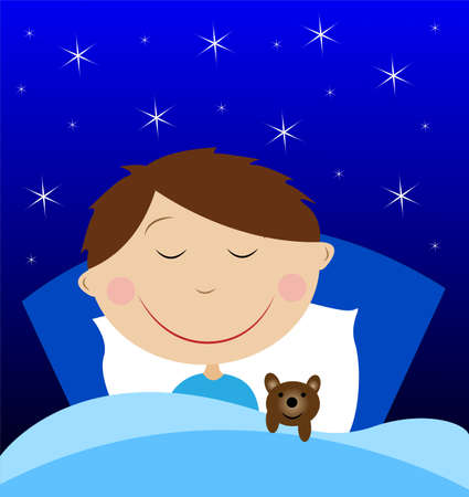 little boy sleep under blanket with toy bruin, vector illustration