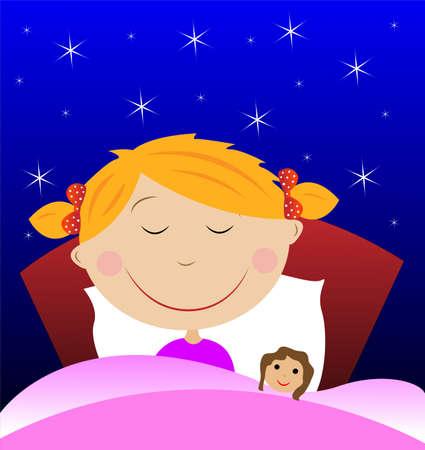 sleeping room: little girl sleep under blanket with doll, vector illustration