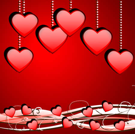 Bright red background with hearts to the day of saint Valentin