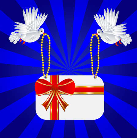 carried: Two white a pigeon is carried greeting-card to the day of saint Valentin, vector illustration