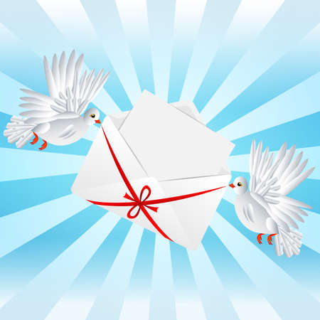 Two white a pigeon is carried envelope with the clean sheet of paper to the day of saint Valentin, vector illustration Vector