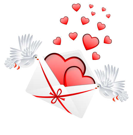 day saint valentin: Envelope with hearts to the day of saint Valentin, vector illustration
