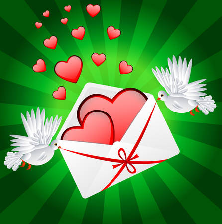 carried: Two white a pigeon is carried envelope with hearts to the day of saint Valentin, vector illustration