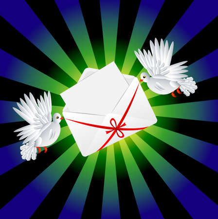 day saint valentin: Two white a pigeon is carried envelope with the clean sheet of paper to the day of saint Valentin, vector illustration