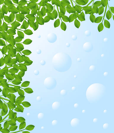 exemplary: background for a design with green branches,  vector  illustration