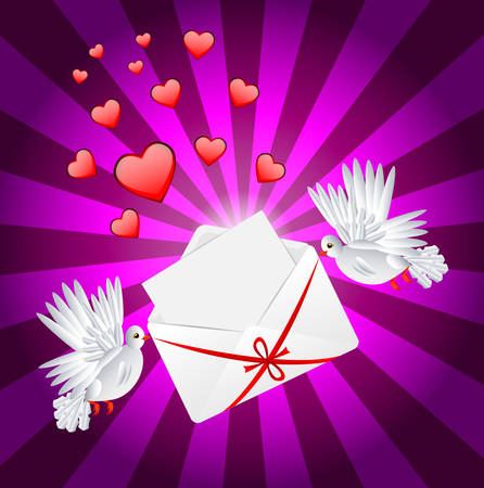 amorousness: Two white a pigeon is carried envelope to the day of saint Valentin, vector illustration