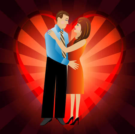 day saint valentin: young loving couple on a background a heart,vector illustration Illustration