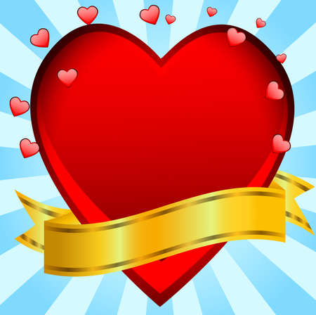 day saint valentin: Postal to the day of saint Valentin with a red heart,vector illustration